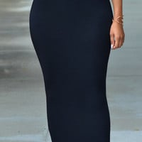 Black High Waist Bodycon Maxi Skirt