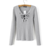 FREE SHIPPING Fall sexy and retro slim with a long sleeve knit top with a cord tied around the chest