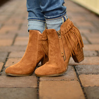 Kenzie Fringe Booties - Tan