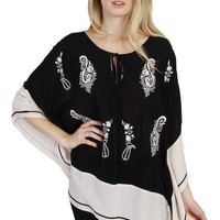 On A Vacation Printed Poncho Top (Black)-Plus Size
