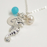 Silver necklace seahorse necklace, silver seahorse necklace, personalized necklace,beach necklace, hand stamped initials