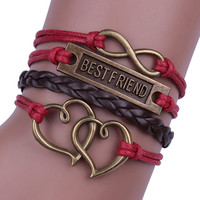 BESTFRIEND Heart Leather Cord Woven Bracelet