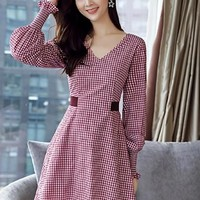Red Plaid Lantern Sleeve Women's Day Dress