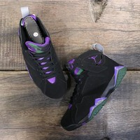 "Air Jordan 7 ""Ray Allen"" Black/Fierce Purple-Dark Steel Grey - Best Deal Online"