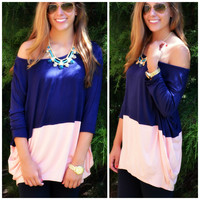 SZ LARGE Block Party Navy & Peach Top