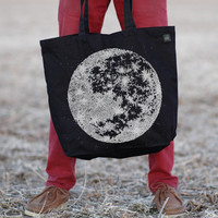 Moon Tote Bag - extra large cotton tote - full moon screenprint on jet black bags - astronomy tote | lunar print