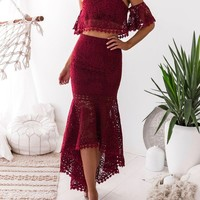Lace Two Piece Crop Top Mermaid Skirt Set