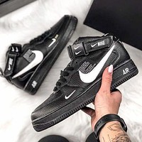 NIKE Air Force 1 Fashion New hook print high top couple sports leisure running shoes Black
