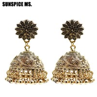 SUNSPICE MS Ethnic Indian Birdcage Earring Women Antique Gold Silver Color Egypt Drop Earring Retro Vintage Boho Ancient Jewelry