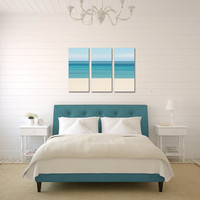 Canvas Beach Decor Triptych Large Wall Art Teal Blue Aqua Turquoise Beige Living Room Bedroom Nautical Stripes Abstract Beach Photography