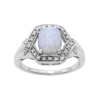 Sterling Silver Lab-Created Opal & White Topaz Ring