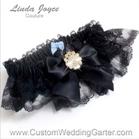 """Black and Black Lace Wedding Garter """"Penny 10"""" Gold"""