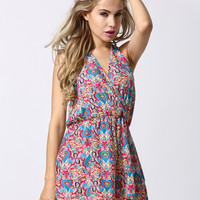 Multicolor Halter Heart And Vine Print Backless Romper Playsuit