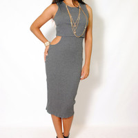 (ama) Cut out on side round neck ribbed gray midi dress