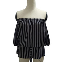 Sexy Womens Blouse Striped Off Shoulder Tops Cropped Loose Women Autumn Blouse Top Femme#C919 SM6