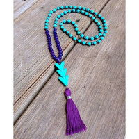 Beaded Stretch Necklace with Turquoise Beads and Colorful Tassel in Purple Coral Pink or White Chevron Boho Summer Necklace