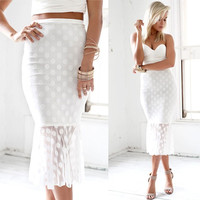 White Polka Dot Mesh Fishtail Bodycon Midi Skirt