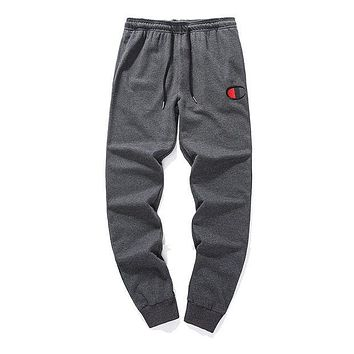 Champion autumn and winter new cotton men and women casual pants sweatpants Grey
