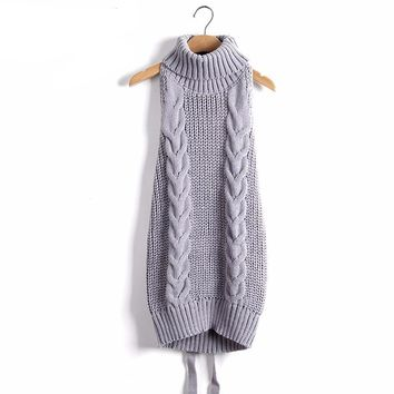 Turtleneck Knitted Sexy backless Sweaters