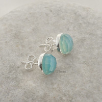 Silver Stud Earring, Blue Chalcedony Faceted Round 9mm 925 Sterling Silver Stud Earring Jewelry - #6732