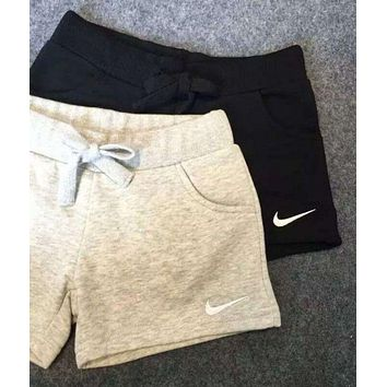 NIKE tide brand casual drawstring solid sports running shorts F