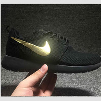 """NIKE"" Trending Fashion Casual Sports Shoes Black golden"