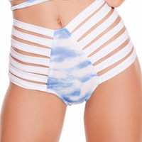 Cloud Print High Waist Strappy Shorts