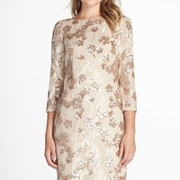 Women's Aidan by Aidan Mattox Embroidered Floral Sequin Dress,