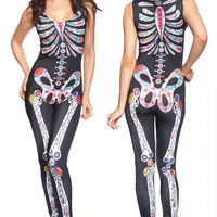 Sugar Skull Adult Women's Halloween Catsuit Costume