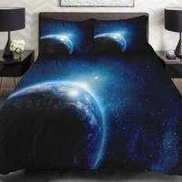 Anlye Galaxy Quilt Cover Galaxy Duvet Cover Galaxy Sheets Space Sheets Outer Space Bedding Set with 2 Matching Pillow Covers (TWIN)
