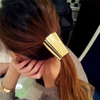 2016 Lovely Jewelry Metal Big Gold/Silver Plated Elastic Ponytail Holder Women Hair Clip for lady girl Hair Ring accessories