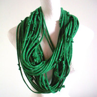 Emerald Green Infinity Scarf Silver Metalic Stripes Upcycled Clothing Kelly Green Circle Scarf Winter Accessories St. Patricks Day