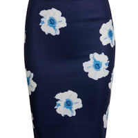 Navy Floral Print Pencil Skirt