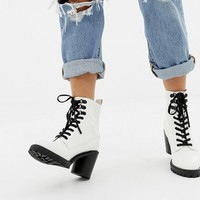 Faith Barc chunky heeled hiker boots in white at asos.com
