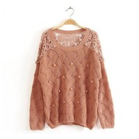 ZLYC Leisure Crochet Back Knitted Sweater for Girls