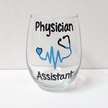 Physician Assistant hand-painted stemless wine glass