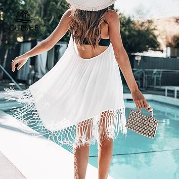 Sexy V-neck Lace Up Backless Cover Up With Tassels Halter Beach Dress
