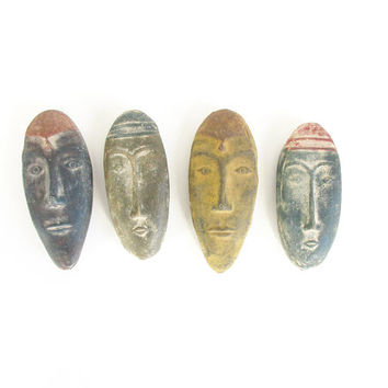 Vintage Carved Stone Head -- Small Totem -- Mexican Pottery Head -- Planter Stake Topper -- Home Decor or Garden Ornament