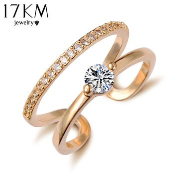Free Shipping Brand Designer White Gold Color Double Zircon Crystal Rings Fashion Jewelry Girl friend Gift  2016