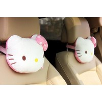 HOT Hello Kitty Accessories Car Headrest Pillow Cute KT Pink Auto Safety Seat Rest Support Pillows PP Cotton Car Neck Cushion