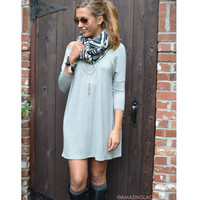 Heaven's Bliss Heather Grey Quarter Sleeve Solid Dress