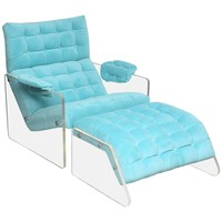 Midcentury Lucite Foaling Lounge Chair and Ottoman