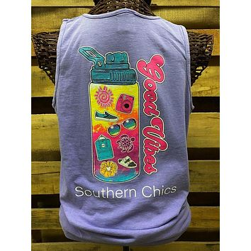 Southern Chics Good Vibes VSCO Girl Water Bottle Scrunchies Comfort Colors Bright T Shirt Tank Top