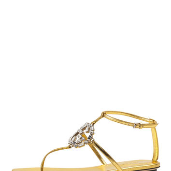 GG Sparkling Metallic Leather Sandal, Gold