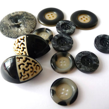 Black with White and Grey Tones Vintage Buttons - 12 Several Sizes