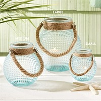 Two's Company Harborside Hobnail Lanterns with Jute Rope