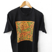 ON SALE KEITH Haring 80's Pop Art Graffiti Street Andy Warhol Designer Printed Black Vintage T shirt