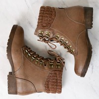 final sale - sierra falls sweater combat boot - taupe
