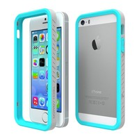 Tech Armor EdgeProtect Grip Scratch-Resistant Bumper Case for iPhone 5S / 5 (Turquoise/Gray) Lifetime Warranty