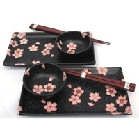 Black Sakura Cherry Blossom Sushi Plate Set for Two